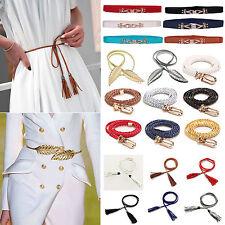 Womens Ladies Metal Leaves Elastic Waist Dress Belt Stretch Thin Strap Waistband