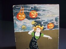 Vintage Original HBG 2262 Embossed Halloween Postcard Scared Lady & Goblins #28
