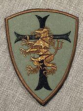 NAVY SEAL DEVGRU GOLD SQUADRON TAN Crusader Shield Lion Embroider Hk/Lp Patch