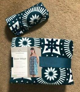 Huntington Home 100% Cotton Towel Body Wrap Matching Turban Teal Navy Print