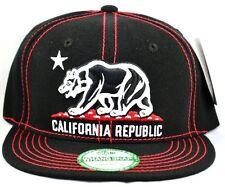 California Republic Snapback-black Cap with Red Thread
