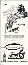 BITTER CAMPARI APERITIVO PIRAMIDI SFINGE EL CAIRO CAMMELLI TUAREG AFRICA 1954