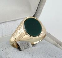 Men's Gents Vintage 9Ct 9K Gold Signet Ring With Oval Bloodstone size T 1/2