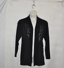 Bob Mackie Open Front Cardigan with Faux Leather Applique Size 1X Black