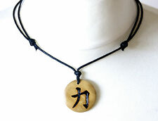 Strength Necklace Chinese Symbol Charm Inner Spiritual Zen Men's Unisex Pendant