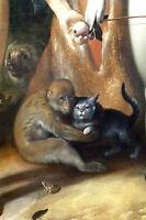 Large 12x18 Monkey Holding Cat Pet Painting Animal Love Real Canvas Art Print
