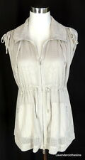 AX Armani Exchange Womens XS Taupe Gray See Through Mesh Active Cargo Vest