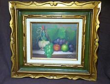 VINTAGE SIGNED OIL STILL LIFE OF GRAPES AND WINE GLASS Framed