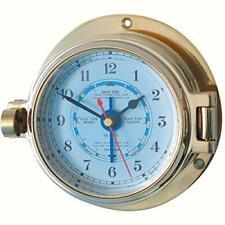 Se envía Ojo de Buey Latón Náutica marea reloj 117mm Od Meridiano Zero 18029