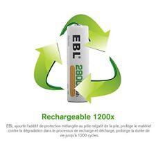 Ebl Piles Grande Capacité 2800mah AA Ni-mh rechargeables 1200...