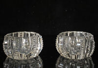 Vintage Open Salt Cellar Dips Clear Cut Glass Crystal 2 Piece Set