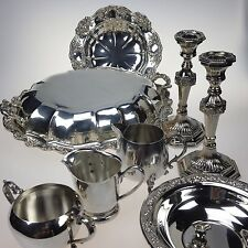 Silver Plate Estate Collection 8 pieces Serving Dish Candlesticks Creamer Bowl