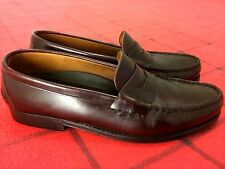 ALLEN SOLLY MENS Size 10 D BURGUNDY LEATHER SLIP ON/LOAFERS SHOE MADE IN SPAIN