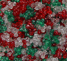 11mm Tri Beads Christmas Glitter Mix 500pc beading crafts jewelry Made in USA