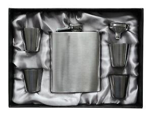 Design in Steel - Flachmann Set - Flachmann mit Trichter und 4 Bechern