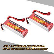 2Pcs HPB 11.1V 2200mAh 25C MAX 35C 3S T Plug Li-po Battery for RC Model E1O6