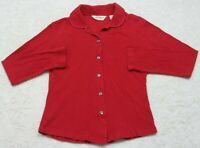 Eddie Bauer Red Dress Shirt Top Women's Button Front Long Sleeve Cotton Small