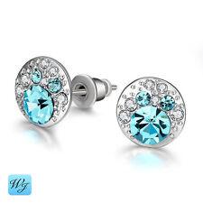 Damas Niñas Par de Plata de ley 925 Diamante Simulado Azul Aretes S/F
