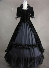 Renaissance Black Velvet Dress Steampunk Ghost Witch Halloween Costume 061 L