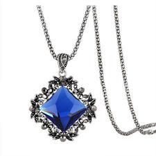 Retro Rhinestone Inlaid Diamond Pendant Bead Chain Long Necklace Jewelry Advance