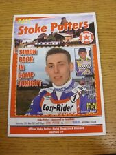 28/05/2011 Speedway Programme: Stoke Potters v Sheffield Prowlers (results noted