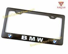 BMW Logo and White Text Real Carbon Fiber license Plate Frame *Top Quality*