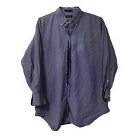 Nautica Mens XL Cotton Blue White Stripe Long Sleeve Button Down Casual Shirt