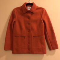 Talbots Petites Orange Jacket Alpaca Wool Blend Women's Size Petite PP Car Coat