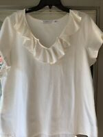 ISAAC MIZRAHI Live! Ivory Short Sleeve Cotton Blend Top w/ Ruffled V-Neck XL