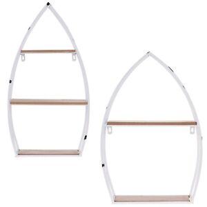 2 3 Tier Boat Shaped Wall Mounted Metal Wood Shelves Storage Floating Shelf Unit