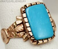 Antique Victorian Natural Persian Turquoise 14k Solid Rose Gold Cocktail Ring