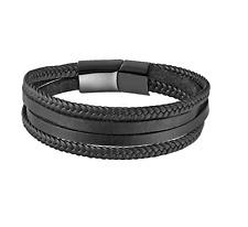 Black Braided Leather Multi Layer Bracelet Stainless Steel Wristband - OZ STOCK!