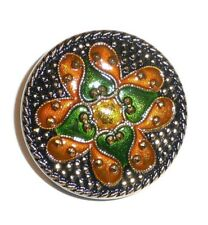 """Hand Painted Lacy Glass Czech Button Orange & Green Flower Black w/ Gold 1-/4"""""""