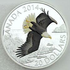 Canada 2014 $20 Bald Eagle Soaring over Northern Lake 1 oz Silver Color Proof