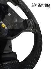 Para Honda Civic 92-05 Negro De Cuero Perforado volante cubierta Gris Stitch