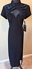 Night Way Collections Black Velvet Sheer Chest & Back Dress Size 14 NWT $134 DS6