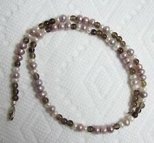 Jeweled Pearls & Smokey Glass Necklace w/ Sterling Clasp