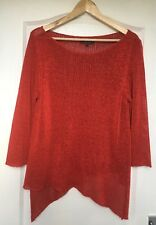 "NEW ""Per Una at M&S"" Women's Red Shimmer Jumper, Size L, Bias cut, 3/4 Sleeves"