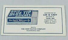 Vintage Ink Botter The Ohio Match Company Blue Tip Matches Wadsworth Ohio