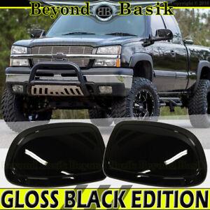 1999-2004 2005 2006 Chevy Silverado GMC Sierra GLOSS BLACK Mirror COVERS Overlay
