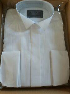 "Lloyd Attree & Smith Mens Dress Shirt White Dinner Tuxedo Double Cuff 15"""