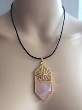 Rose Quartz Yoga Meditating Chakra Healing Stone Pendant Leather Short necklace