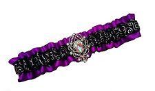 Handmade Purple & Black Satin Wedding or Prom GARTER Belt Rhinestone Pendant