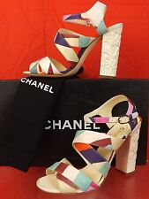 16C NIB CHANEL MULTI COLOR CANVAS METAL CC LOGO FLOWERS HEEL SANDALS PUMPS 38.5