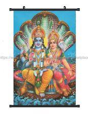 wall decor Lord Vishnu And Mata Lakshmi On Sesha Naga wall scroll cloth poster