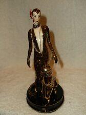 "Rare Franklin Mint ""Erte"" Art Deco Lady w Leopard Ocelot Porcelain Figurine"