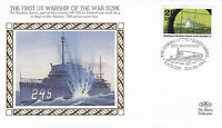 1991 WW2 50th ANNIVERSARY FIRST US WARSHIP OF THE WAR SUNK BENHAM SILK COVER SHS