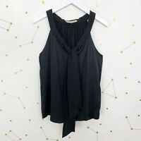 Ramy Brook Silk Blouse Size Small S Solid Black Sleeveless Tie Neck Top