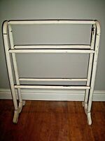 Antique Victorian Large Wooden Distressed Towel Rail Painted White & Gilt (19th)