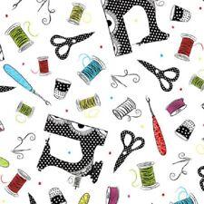 SEW SASSY Fabric- Scissors, Thread, Thimbles, Needles Tossed on White Background